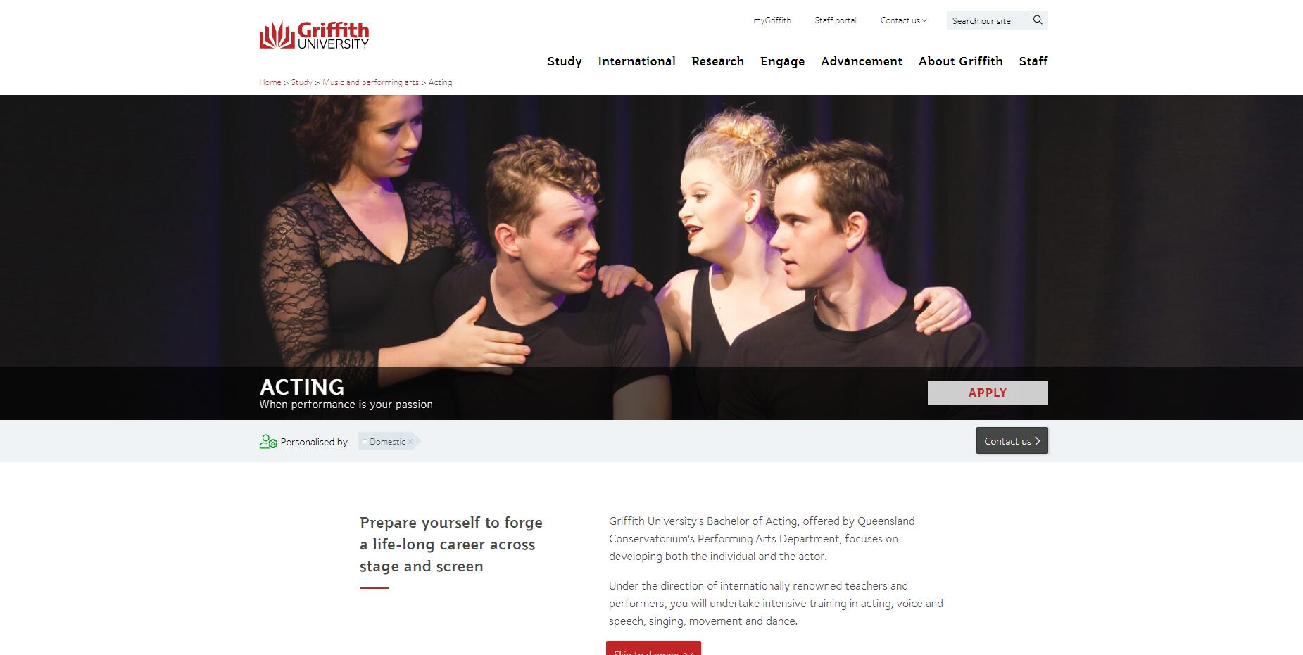 Acting - Griffith University