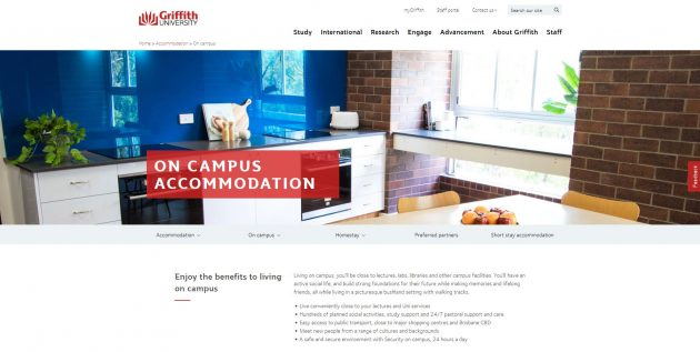 On-campus accommodation - Griffith University